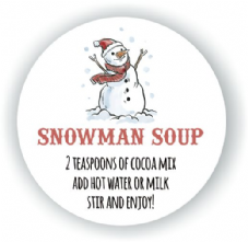 Snowman Soup Labels 37mm Round Paper Label - Christmas Fun